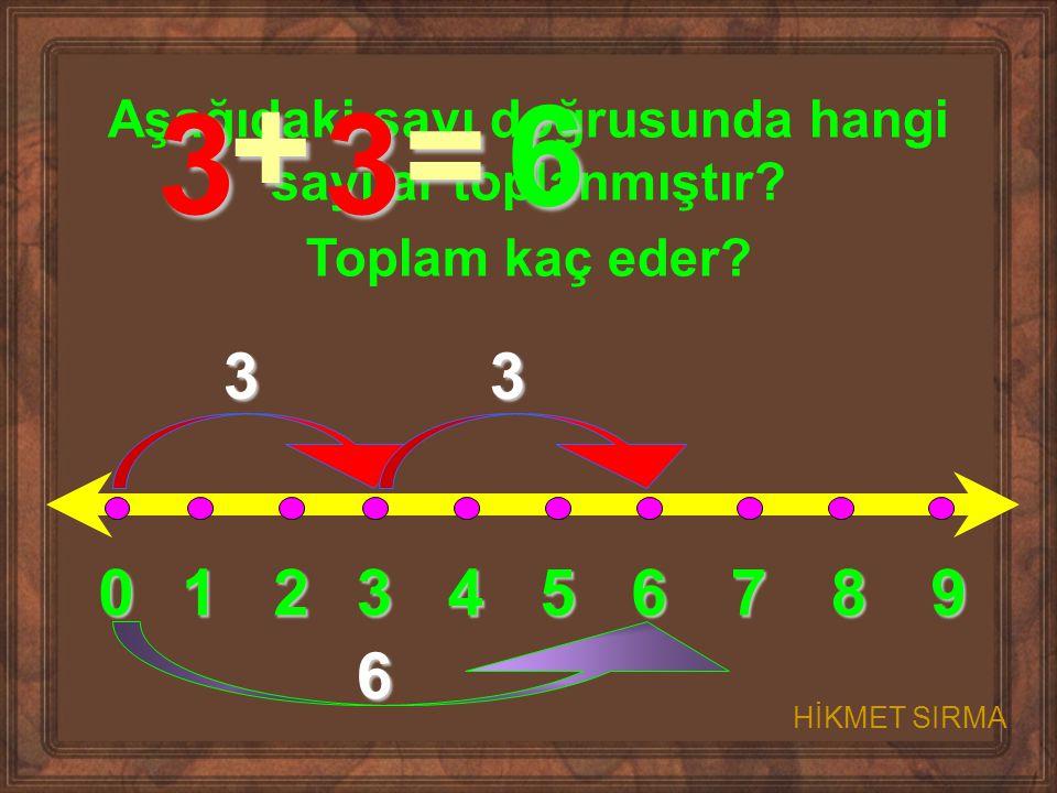 0123456789 Aşağıdaki sayı doğrusunda hangi sayılar toplanmıştır? Toplam kaç eder? 33 6 3 + 3 = 6