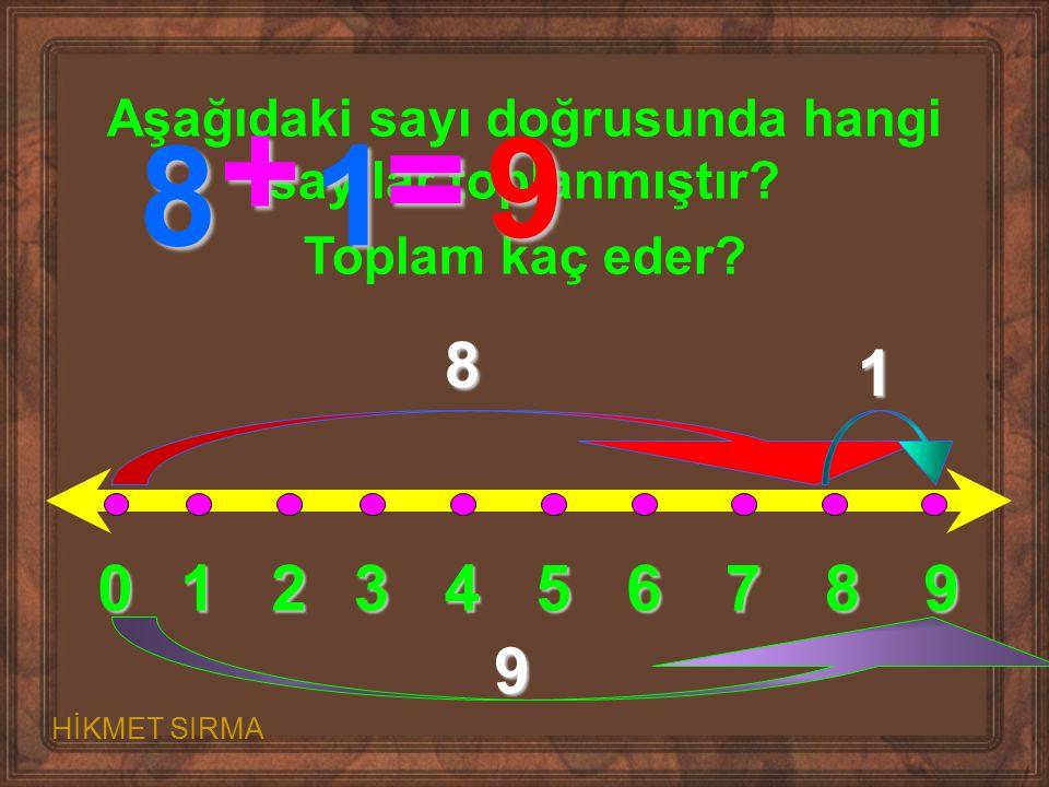 0123456789 Aşağıdaki sayı doğrusunda hangi sayılar toplanmıştır? Toplam kaç eder? 8 1 9 8 + 1 = 9