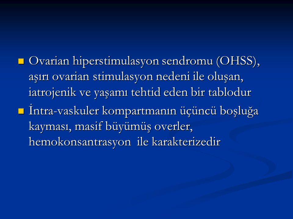 Ovarian hiperstimulasyon sendromu (OHSS), aşırı ovarian stimulasyon nedeni ile oluşan, iatrojenik ve yaşamı tehtid eden bir tablodur Ovarian hiperstim