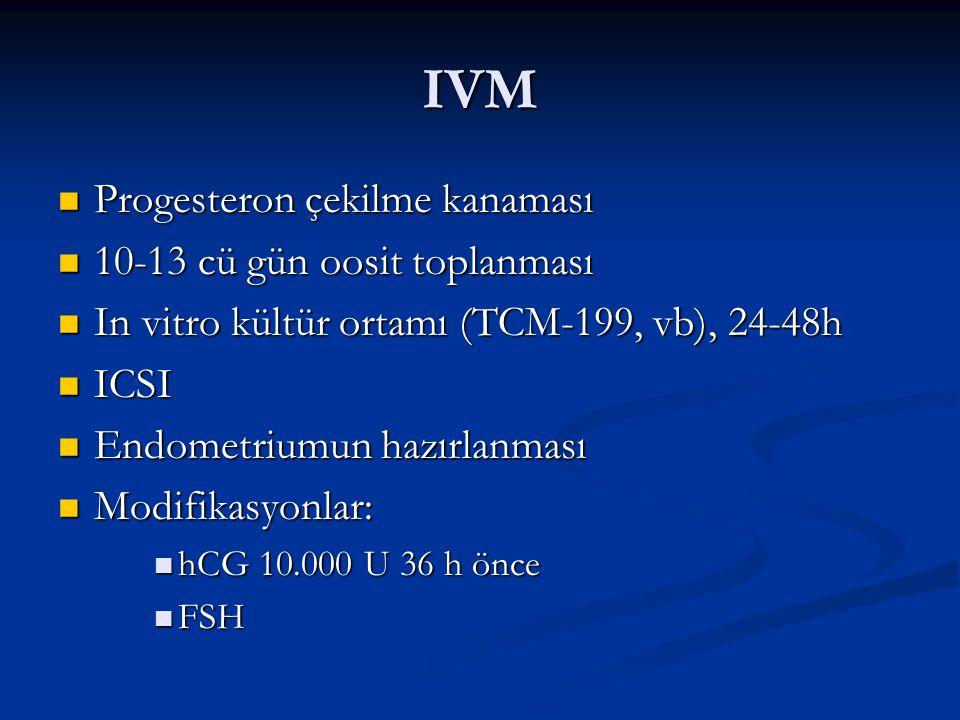 IVM Progesteron çekilme kanaması Progesteron çekilme kanaması 10-13 cü gün oosit toplanması 10-13 cü gün oosit toplanması In vitro kültür ortamı (TCM-