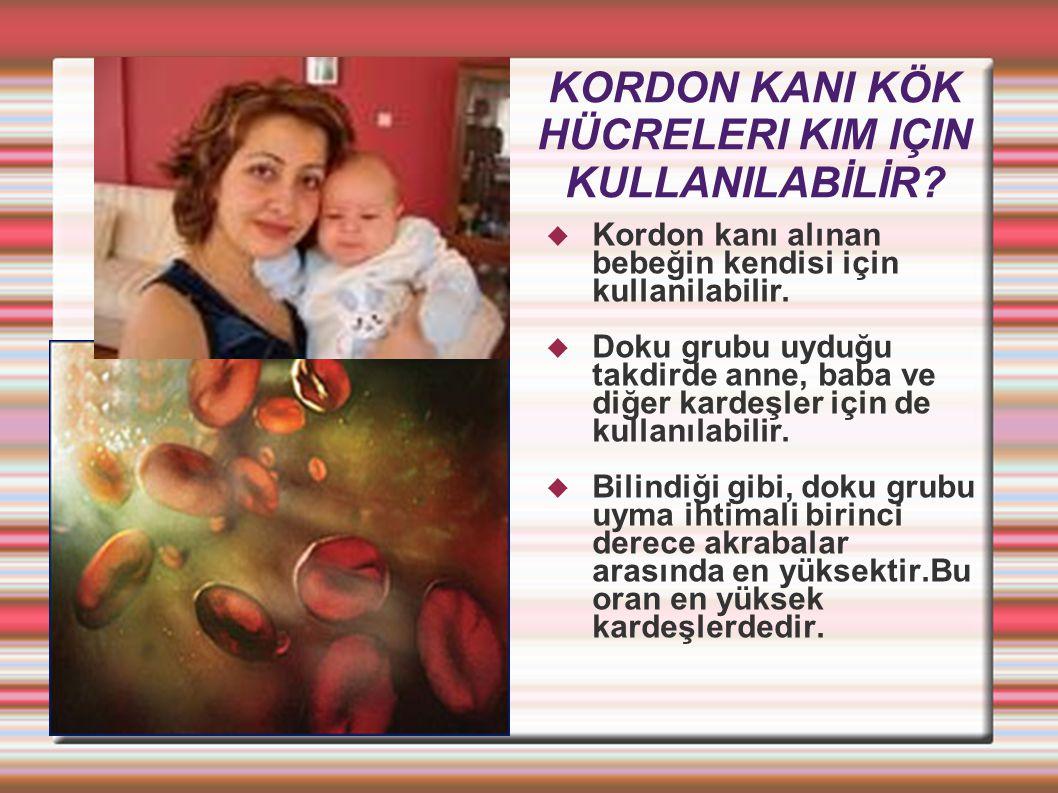KORDON KANI KÖK HÜCRELERI KIM IÇIN KULLANILABİLİR?  Kordon kanı alınan bebeğin kendisi için kullanilabilir.  Doku grubu uyduğu takdirde anne, baba v