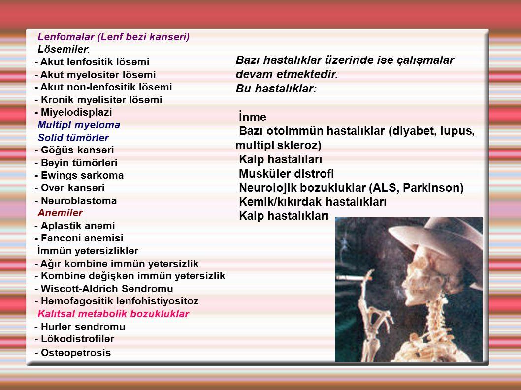 Lenfomalar (Lenf bezi kanseri) Lösemiler: - Akut lenfositik lösemi - Akut myelositer lösemi - Akut non-lenfositik lösemi - Kronik myelisiter lösemi -