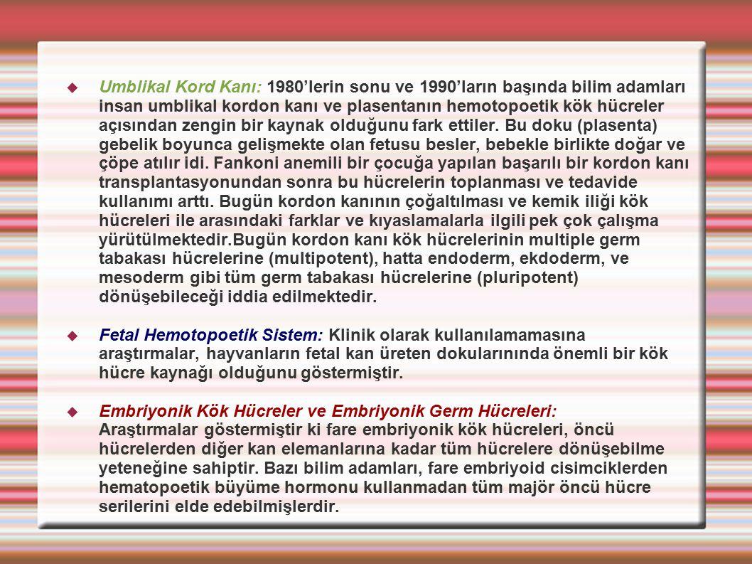  Umblikal Kord Kanı: 1980'lerin sonu ve 1990'ların başında bilim adamları insan umblikal kordon kanı ve plasentanın hemotopoetik kök hücreler açısınd