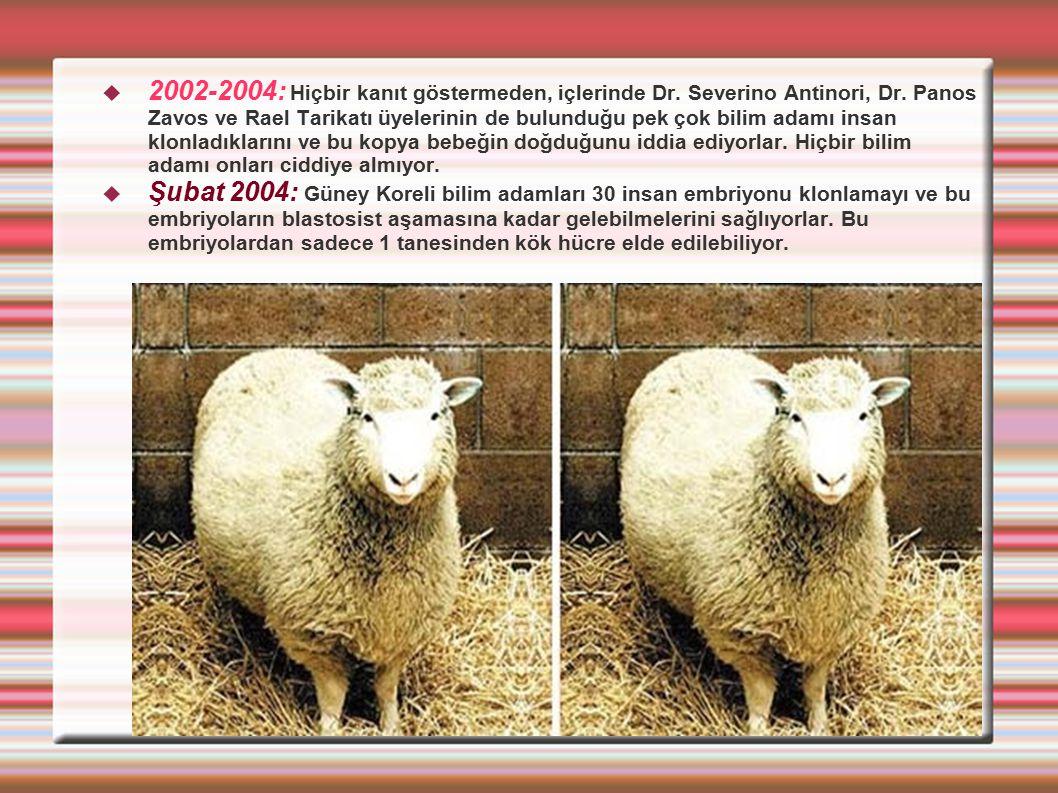 2002-2004: Hiçbir kanıt göstermeden, içlerinde Dr. Severino Antinori, Dr. Panos Zavos ve Rael Tarikatı üyelerinin de bulunduğu pek çok bilim adamı i