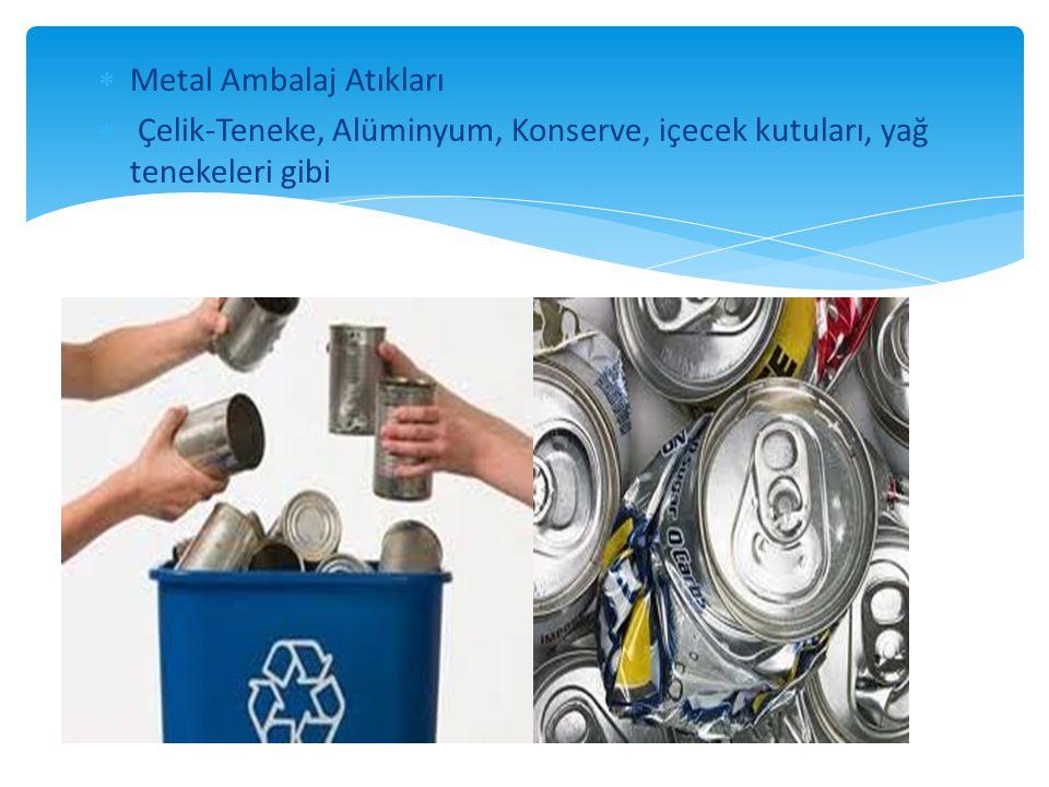  Metal Ambalaj Atıkları  Çelik-Teneke, Alüminyum, Konserve, içecek kutuları, yağ tenekeleri gibi