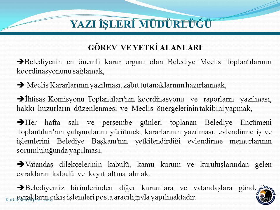 YAZI İŞLERİ MÜDÜRLÜĞÜ GÖREV VE YETKİ ALANLARI  Belediyenin en önemli karar organı olan Belediye Meclis Toplantılarının koordinasyonunu sağlamak,  Me