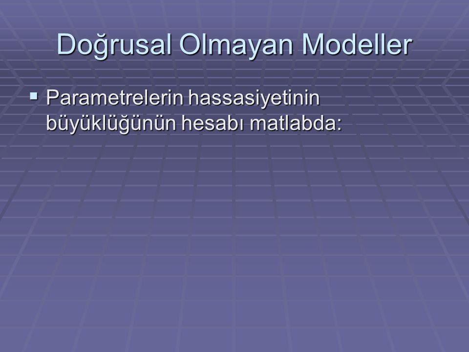 Doğrusal Olmayan Modeller  Parametrelerin hassasiyetinin büyüklüğünün hesabı matlabda: