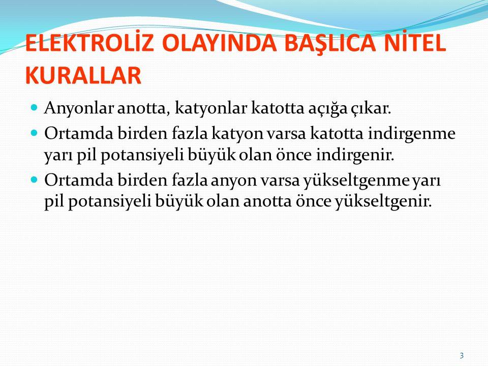 ELEKTROLİZ OLAYINDA FARADAY PRENSİPLERİ 1.