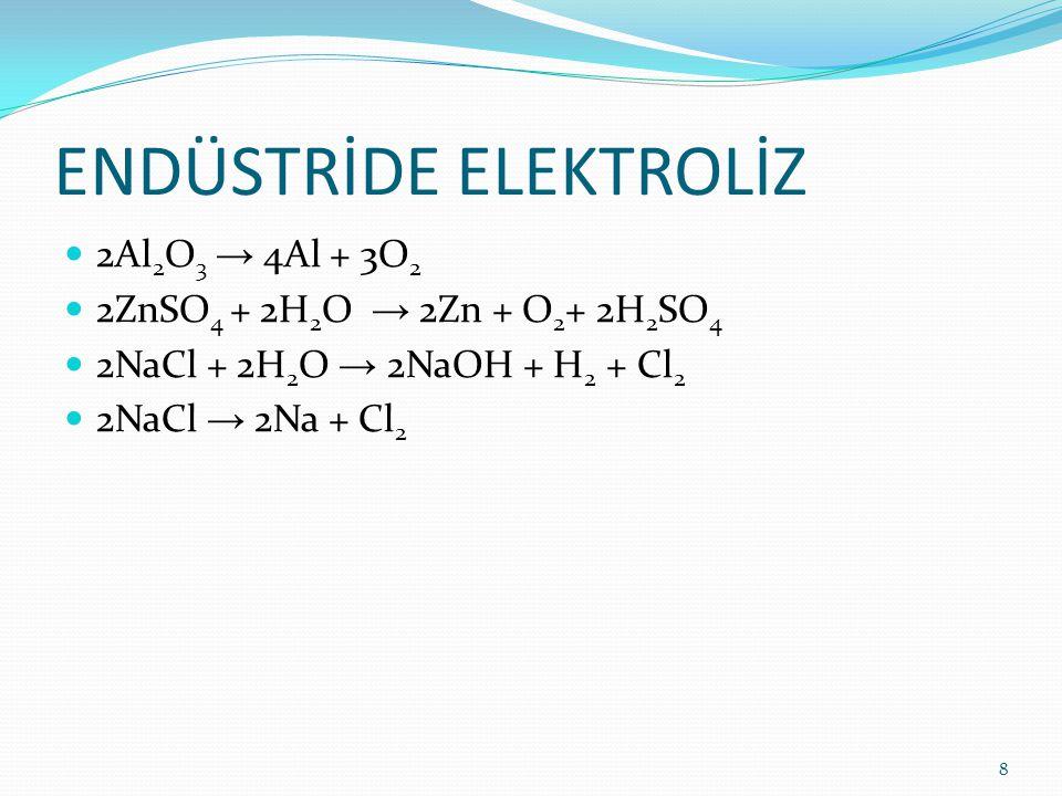 ENDÜSTRİDE ELEKTROLİZ 2Al 2 O 3 → 4Al + 3O 2 2ZnSO 4 + 2H 2 O → 2Zn + O 2 + 2H 2 SO 4 2NaCl + 2H 2 O → 2NaOH + H 2 + Cl 2 2NaCl → 2Na + Cl 2 8