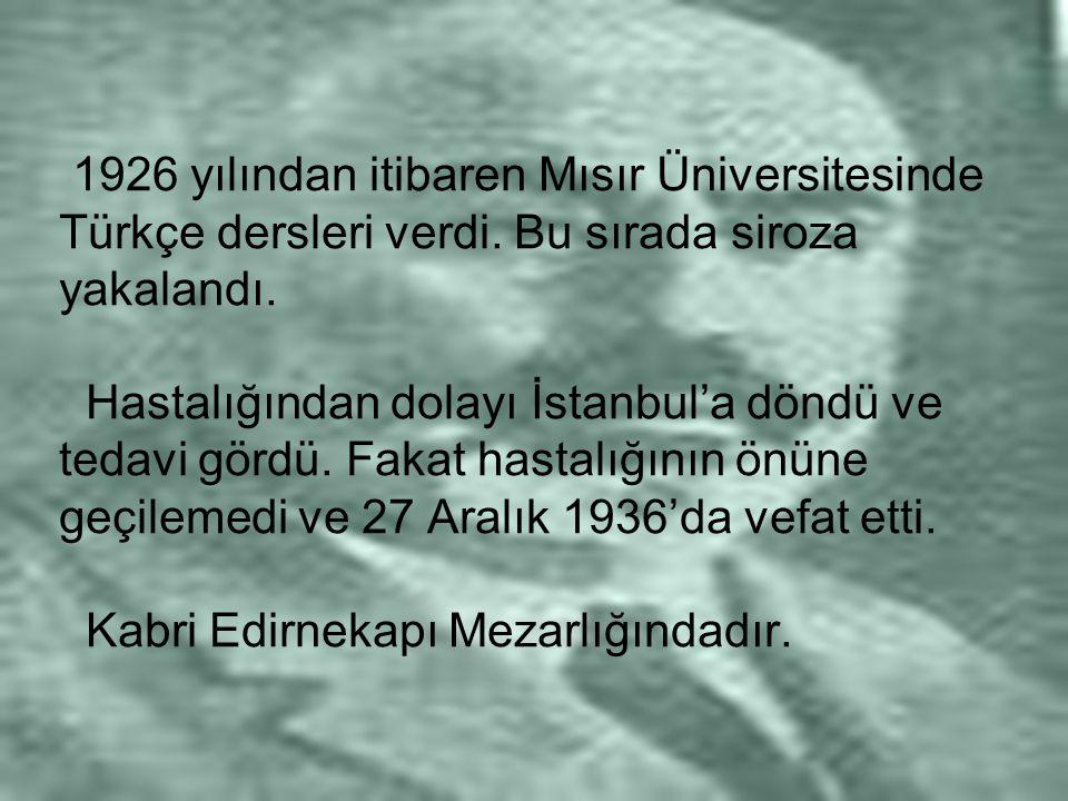 1926 yılından itibaren Mısır Üniversitesinde Türkçe dersleri verdi. Bu sırada siroza yakalandı. Hastalığından dolayı İstanbul'a döndü ve tedavi gördü.