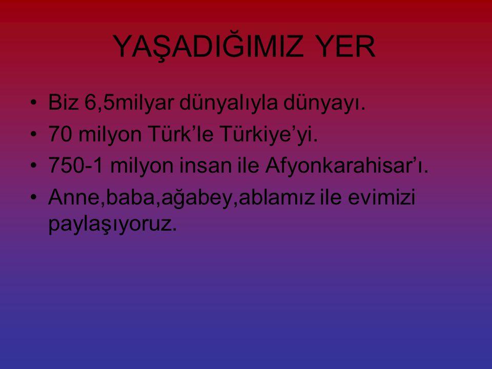 YAŞADIĞIMIZ YER Biz 6,5milyar dünyalıyla dünyayı.70 milyon Türk'le Türkiye'yi.