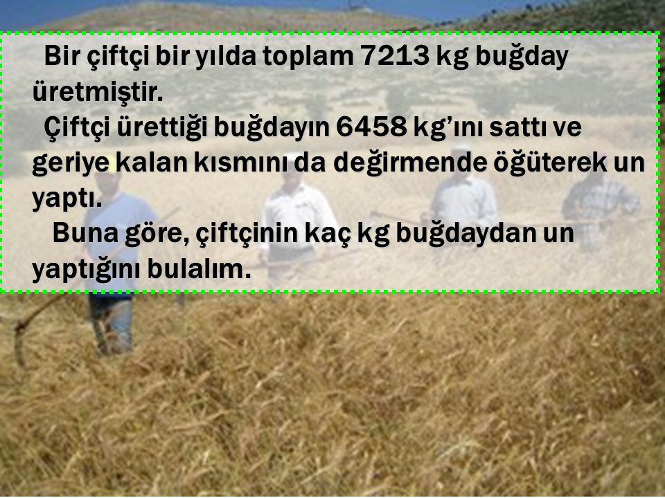 Bir çiftçi bir yılda toplam 7213 kg buğday üretmiştir. Bir çiftçi bir yılda toplam 7213 kg buğday üretmiştir. Çiftçi ürettiği buğdayın 6458 kg'ını sat