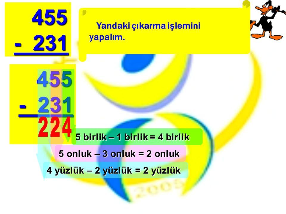 Yandaki çıkarma işlemini yapalım. 455 455 - 231 - 231 455 455 - 231 - 231 5 birlik – 1 birlik = 4 birlik 5 onluk – 3 onluk = 2 onluk 4 yüzlük – 2 yüzl