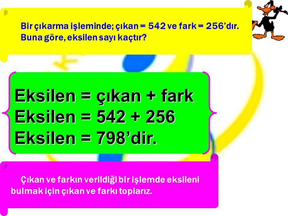 Bir çıkarma işleminde; çıkan = 542 ve fark = 256'dır. Buna göre, eksilen sayı kaçtır? Eksilen = çıkan + fark Eksilen = 542 + 256 Eksilen = 798'dir. Çı