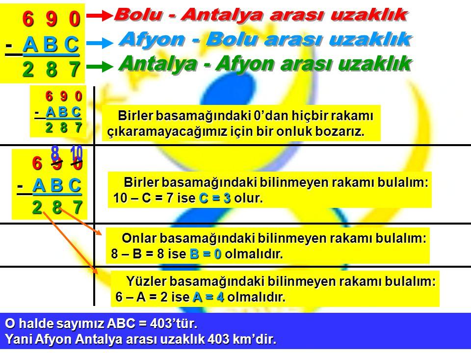 6 9 0 6 9 0 - A B C 2 8 7 2 8 7 6 9 0 6 9 0 - A B C 2 8 7 2 8 7 Birler basamağındaki 0'dan hiçbir rakamı Birler basamağındaki 0'dan hiçbir rakamı çıka