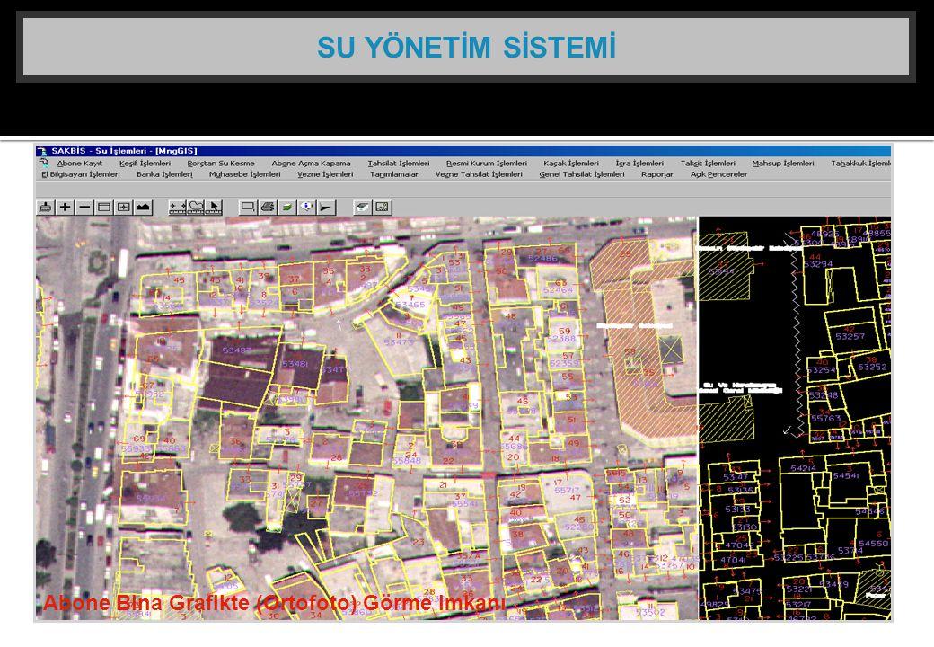 SU YÖNETİM SİSTEMİ Abone Bina Grafikte (Ortofoto) Görme imkanı