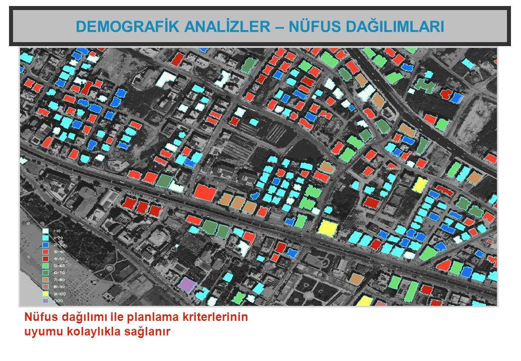 DEMOGRAFİK ANALİZLER – NÜFUS DAĞILIMLARI Nüfus dağılımı ile planlama kriterlerinin uyumu kolaylıkla sağlanır