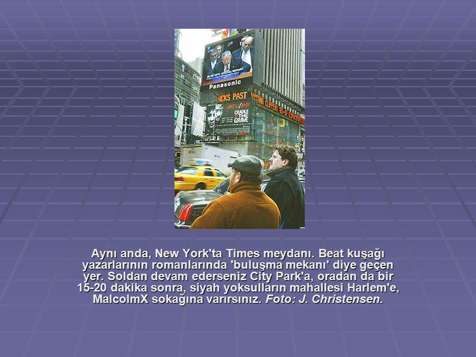 Aynı anda, New York'ta Times meydanı. Beat kuşağı yazarlarının romanlarında 'buluşma mekanı' diye geçen yer. Soldan devam ederseniz City Park'a, orada