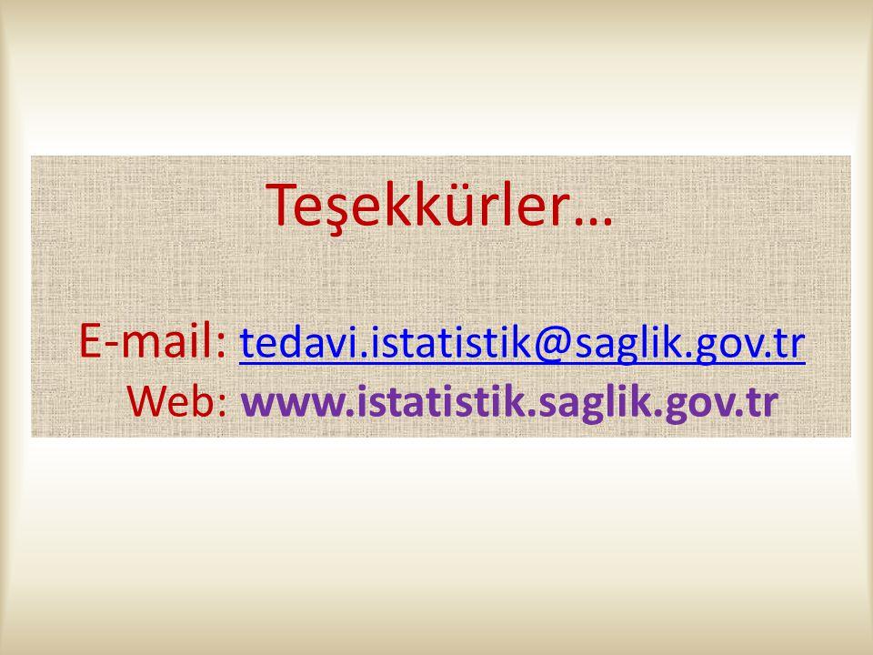 Teşekkürler… E-mail: tedavi.istatistik@saglik.gov.tr Web: www.istatistik.saglik.gov.tr tedavi.istatistik@saglik.gov.tr