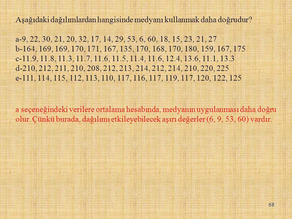 Aşağıdaki dağılımlardan hangisinde medyanı kullanmak daha doğrudur? a-9, 22, 30, 21, 20, 32, 17, 14, 29, 53, 6, 60, 18, 15, 23, 21, 27 b-164, 169, 169