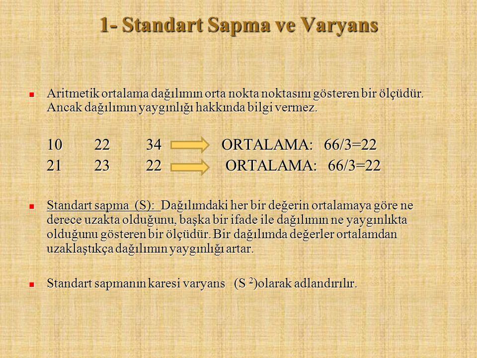 1- Standart Sapma ve Varyans Aritmetik ortalama dağılımın orta nokta noktasını gösteren bir ölçüdür. Ancak dağılımın yaygınlığı hakkında bilgi vermez.