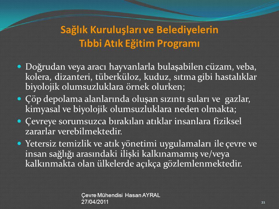 Sağlık Kuruluşları ve Belediyelerin Tıbbi Atık Eğitim Programı Doğrudan veya aracı hayvanlarla bulaşabilen cüzam, veba, kolera, dizanteri, tüberküloz,