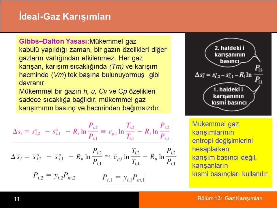 Bölüm 13: Gaz Karışımları 11 İdeal-Gaz Karışımları Mükemmel gaz karışımlarının entropi değişimlerini hesaplarken, karışım basıncı değil, karışanların kısmi basınçları kullanılır.