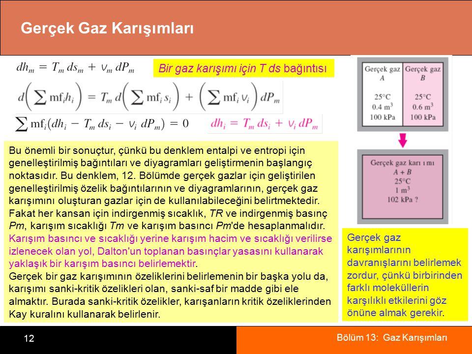 Bölüm 13: Gaz Karışımları 12 Gerçek Gaz Karışımları Gerçek gaz karışımlarının davranışlarını belirlemek zordur, çünkü birbirinden farklı moleküllerin karşılıklı etkilerini göz önüne almak gerekir.