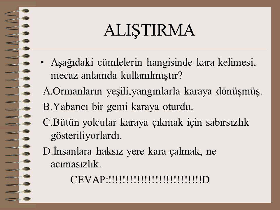 ALIŞTIRMA Aşağıdaki cümlelerin hangisinde kara kelimesi, mecaz anlamda kullanılmıştır.