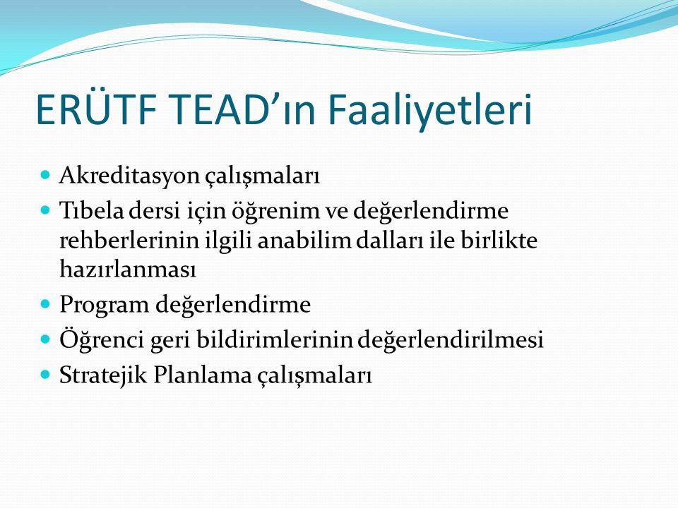 ERÜTF TEAD'ın Faaliyetleri Akreditasyon çalışmaları Tıbela dersi için öğrenim ve değerlendirme rehberlerinin ilgili anabilim dalları ile birlikte hazı