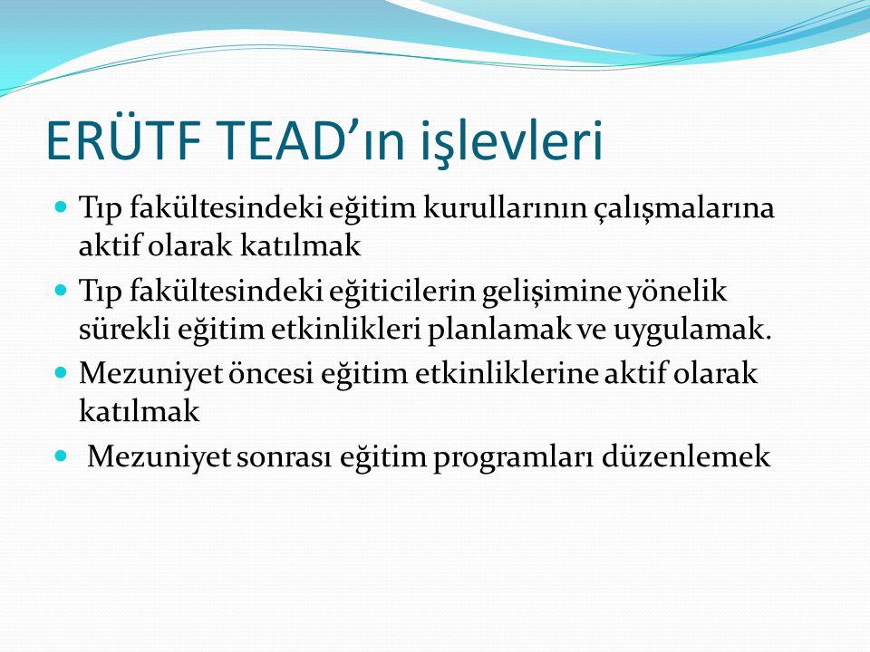 ERÜTF TEAD'ın işlevleri Tıp fakültesindeki eğitim kurullarının çalışmalarına aktif olarak katılmak Tıp fakültesindeki eğiticilerin gelişimine yönelik