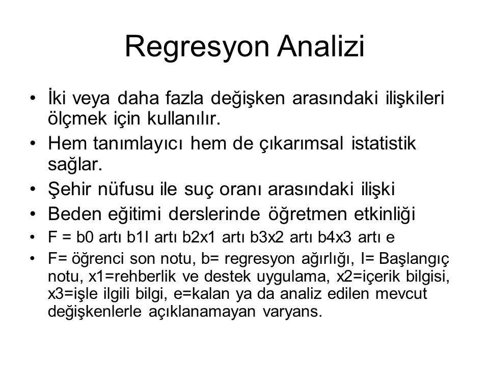 Regresyon Analizi İki veya daha fazla değişken arasındaki ilişkileri ölçmek için kullanılır. Hem tanımlayıcı hem de çıkarımsal istatistik sağlar. Şehi