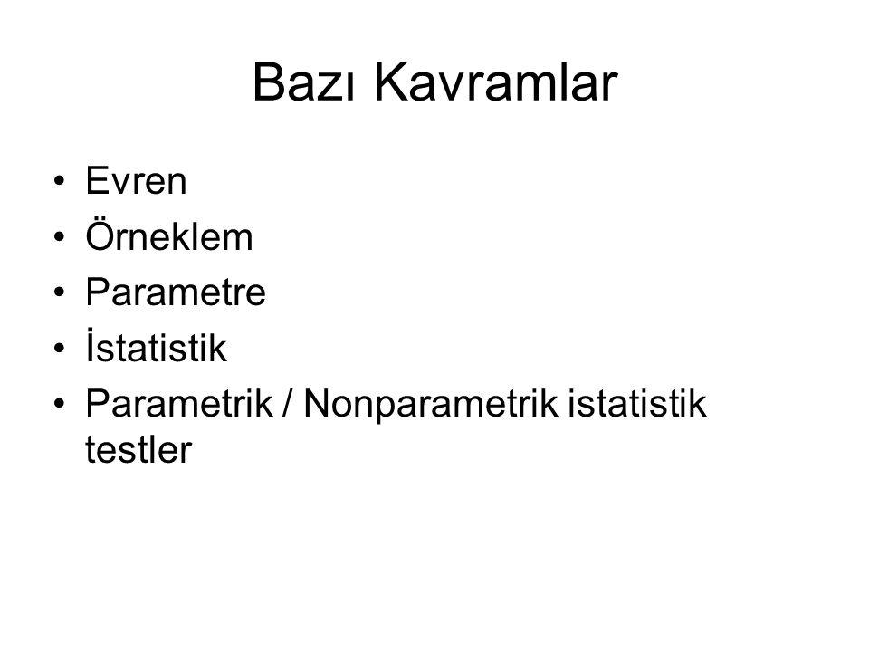Bazı Kavramlar Evren Örneklem Parametre İstatistik Parametrik / Nonparametrik istatistik testler