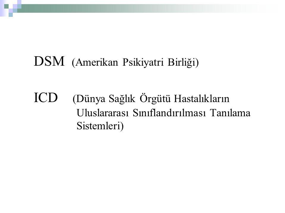 DSM (Amerikan Psikiyatri Birliği) ICD (Dünya Sağlık Örgütü Hastalıkların Uluslararası Sınıflandırılması Tanılama Sistemleri)