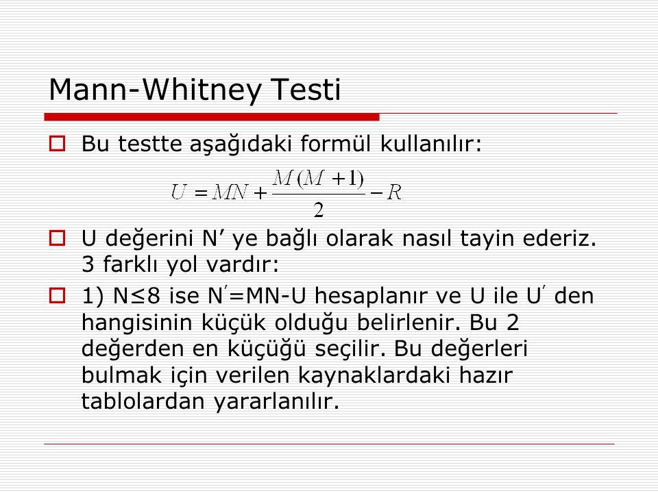Mann-Whitney Testi  Bu testte aşağıdaki formül kullanılır:  U değerini N' ye bağlı olarak nasıl tayin ederiz.