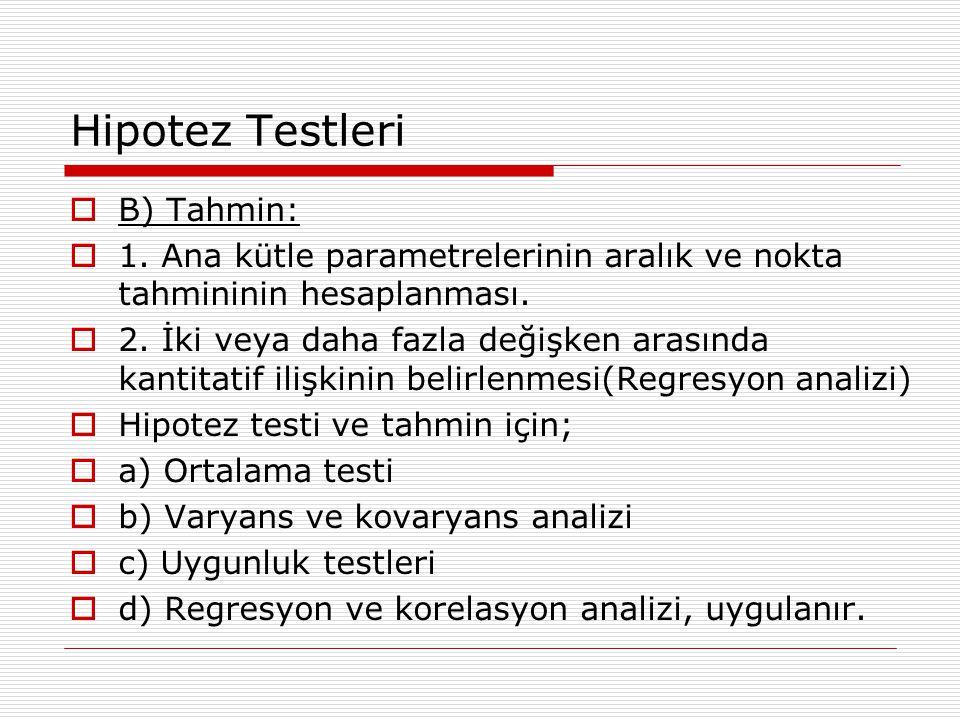 Hipotez Testleri  B) Tahmin:  1.