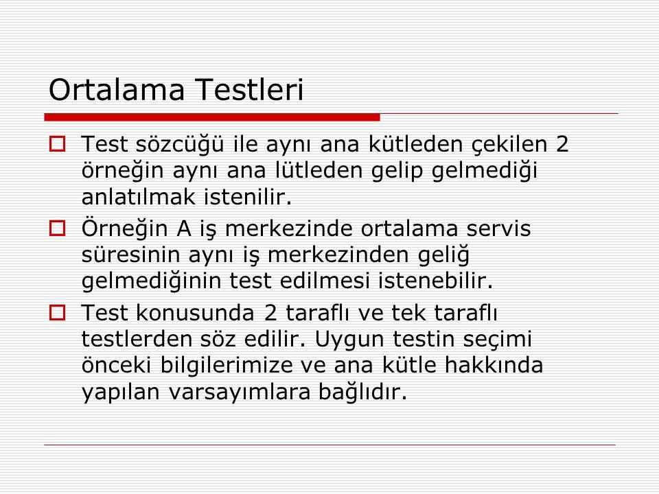 Ortalama Testleri  Test sözcüğü ile aynı ana kütleden çekilen 2 örneğin aynı ana lütleden gelip gelmediği anlatılmak istenilir.