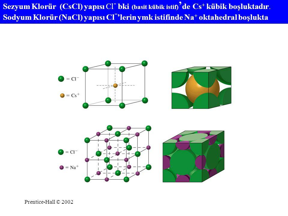 Prentice-Hall © 2002 Sezyum Klorür (CsCl) yapısı Cl - bki (basit kübik istif) ' de Cs + kübik boşluktadır. Sodyum Klorür (NaCl) yapısı Cl - 'lerin ymk