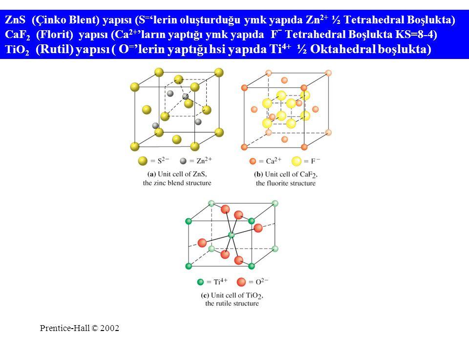 Prentice-Hall © 2002 ZnS (Çinko Blent) yapısı (S = 'lerin oluşturduğu ymk yapıda Zn 2+ ½ Tetrahedral Boşlukta) CaF 2 (Florit) yapısı (Ca 2+ 'ların yap