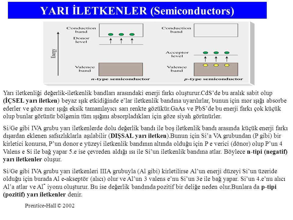 Prentice-Hall © 2002 YARI İLETKENLER (Semiconductors) Yarı iletkenliği değerlik-iletkenlik bandları arasındaki enerji farkı oluşturur.CdS'de bu aralık
