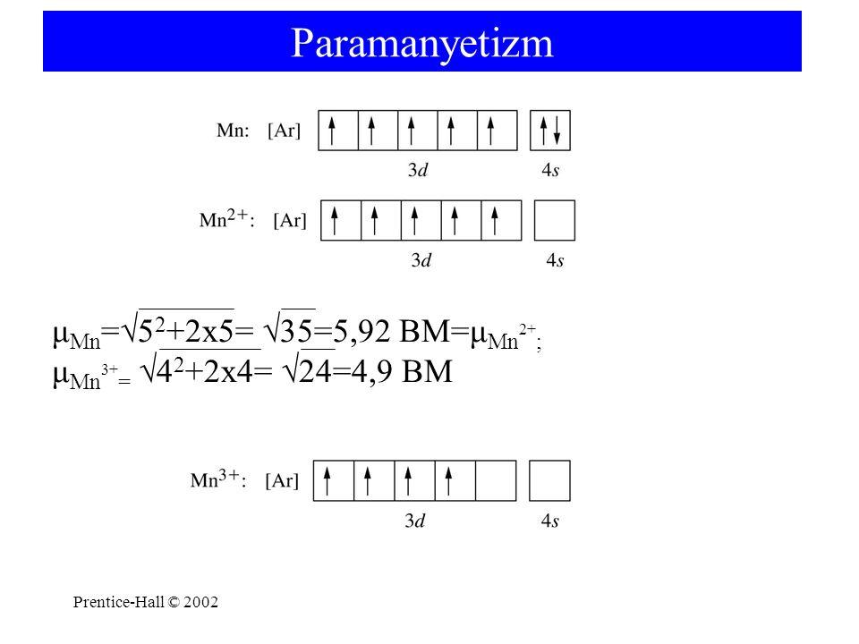 Prentice-Hall © 2002 Paramanyetizm μ Mn =√5 2 +2x5= √35=5,92 BM=μ Mn 2+ ; μ Mn 3+ = √4 2 +2x4= √24=4,9 BM