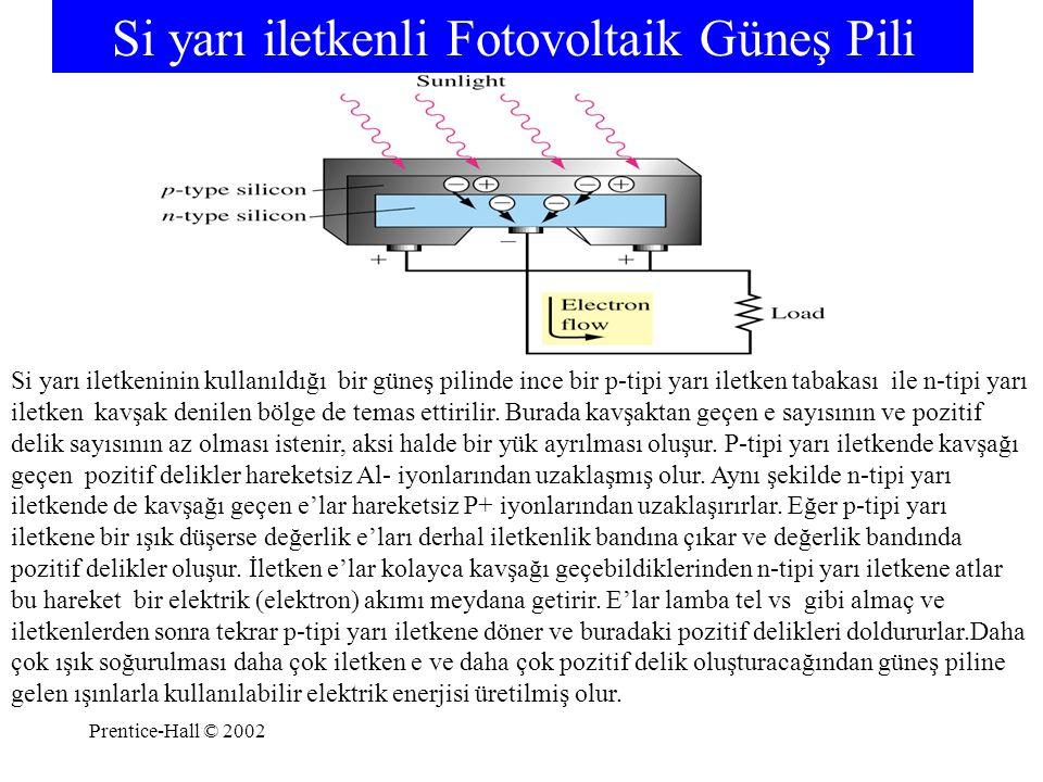 Prentice-Hall © 2002 Si yarı iletkenli Fotovoltaik Güneş Pili Si yarı iletkeninin kullanıldığı bir güneş pilinde ince bir p-tipi yarı iletken tabakası