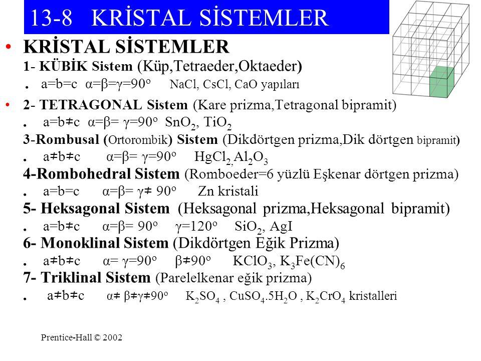 Prentice-Hall © 2002 13-8 KRİSTAL SİSTEMLER KRİSTAL SİSTEMLER 1- KÜBİK Sistem (Küp,Tetraeder,Oktaeder). a=b=c α=β=γ=90 o NaCl, CsCl, CaO yapıları 2- T