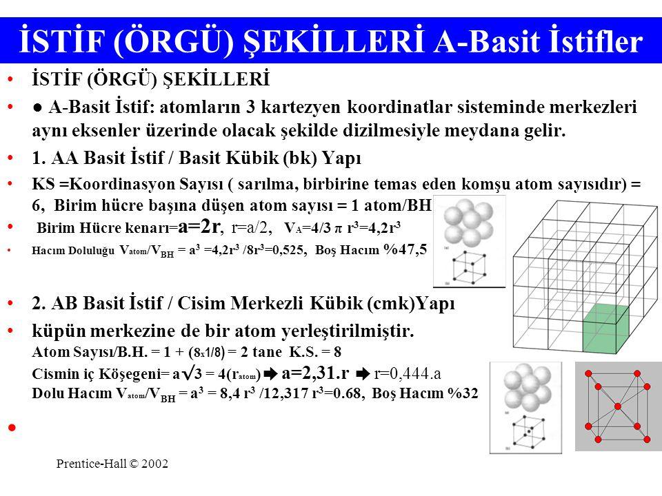 Prentice-Hall © 2002 Kübik Kristal Sistemde BİRİM HÜCRELER a) AA Basit Kübik (bk) İstif b) AB Cisim merkezli Kübik (cmk) İstif c)ABC Yüzey Merkezli Kübik (ymk) sık istif