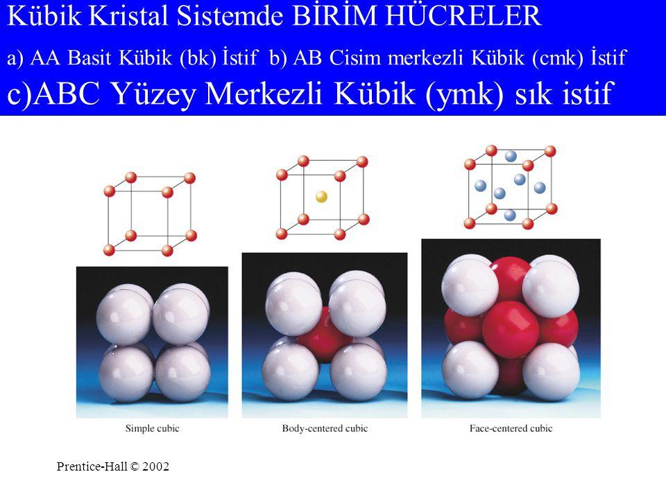 Prentice-Hall © 2002 Kübik Kristal Sistemde BİRİM HÜCRELER a) AA Basit Kübik (bk) İstif b) AB Cisim merkezli Kübik (cmk) İstif c)ABC Yüzey Merkezli Kü