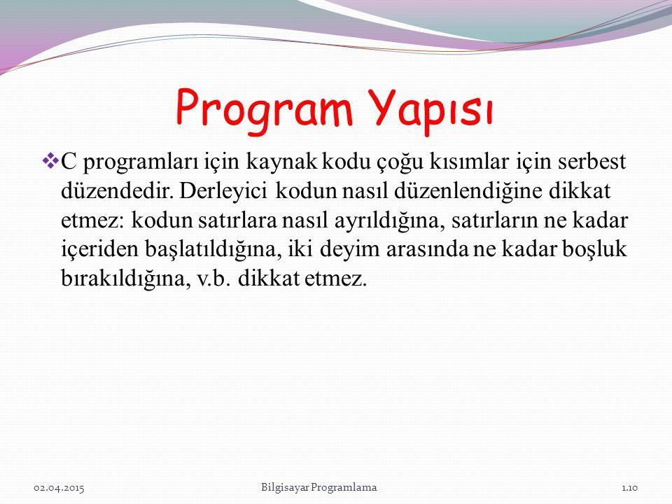 Program Yapısı  C programları için kaynak kodu çoğu kısımlar için serbest düzendedir.