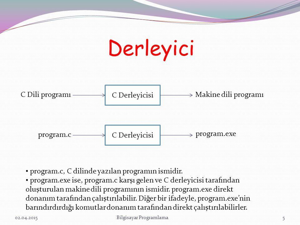 Derleyici 02.04.2015Bilgisayar Programlama5 C Derleyicisi C Dili programı Makine dili programı C Derleyicisi program.c program.exe program.c, C dilinde yazılan programın ismidir.