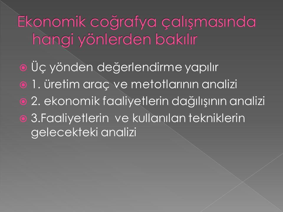  Üç yönden değerlendirme yapılır  1. üretim araç ve metotlarının analizi  2. ekonomik faaliyetlerin dağılışının analizi  3.Faaliyetlerin ve kullan