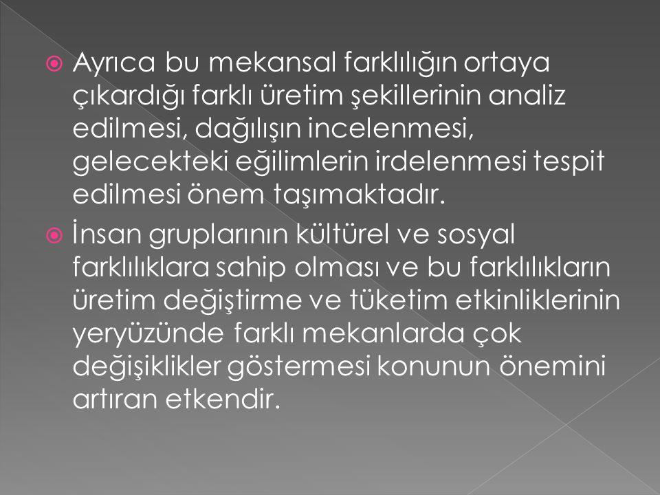  Yeni değişimler ile eskilerin farklılaşması,  Tarihi ipek yolu ve üzerinde yer alan kentlerin bugünkü durumu,  Önceden gelişmiş olan yerlerin yeni gelişmelerle birlikte son bulması (Ankara'da tiftik dokumacılığının bitişi)