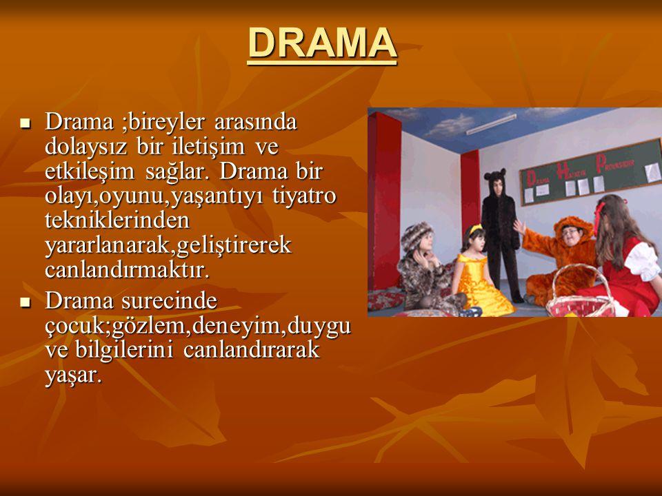 DRAMA Drama ;bireyler arasında dolaysız bir iletişim ve etkileşim sağlar. Drama bir olayı,oyunu,yaşantıyı tiyatro tekniklerinden yararlanarak,geliştir
